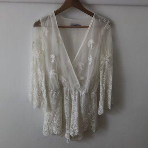 Cream lace romper